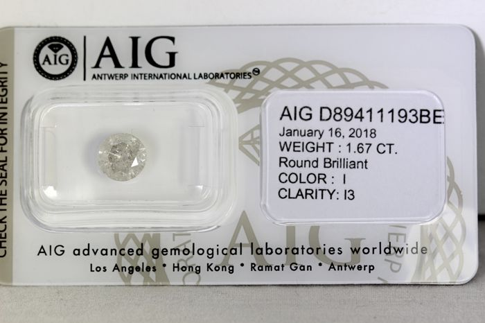 AIG Sealed Diamond - 1.67 ct - I, I3 - * NO RESERVE PRICE *