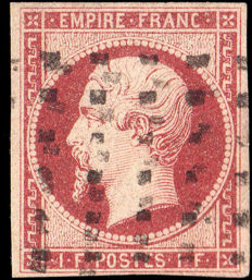 France 1853 – 1F carmine imperforated with Brun certificate – Maury n° 18