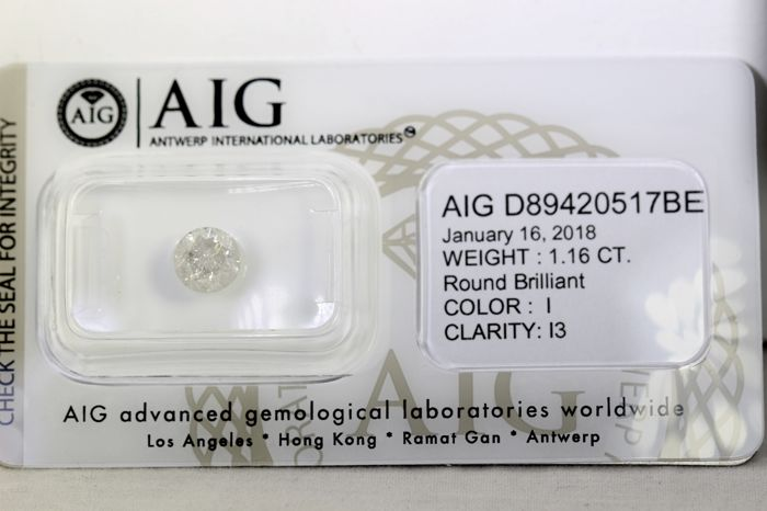 AIG Sealed Diamond  - 1.16 ct - I  , I3