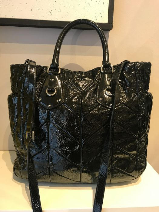 Prada - Black Patent Leather Chevron Quilted Large Tote bag
