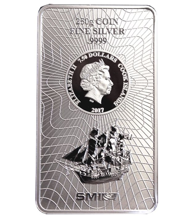Cook Island: 7.5 Dollars, 2017 - 250 g Coin Bar / Silver Bar - New Design