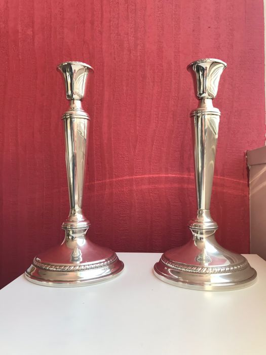 Twin silver candlesticks Cartier model, Italy, 1960s