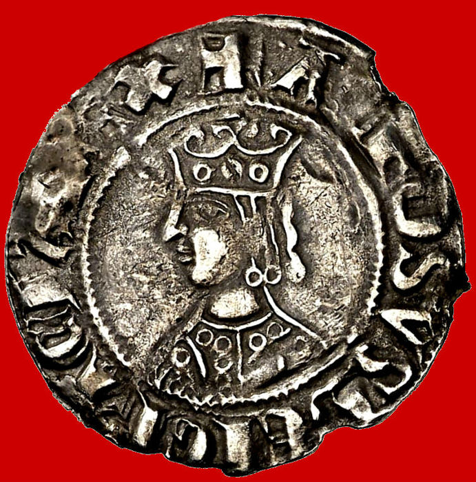 Spain - Alfonso II (1285-1291) silver croat (2.52 g, 23 mm) Barcelona. CIVITAS BARCINONA. Rare