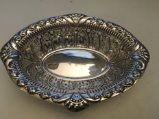 A Victorian silver embossed decorated bowl with pierced design - possibly William Aitken  - Chester - 1895