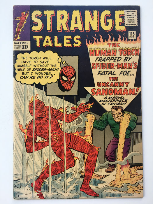 Marvel Comics - Strange Tales #115 - Origin Dr Strange! Human Torch vs Sandman (2nd appearance) very early Spider-man x-over - 1x sc - (1963)