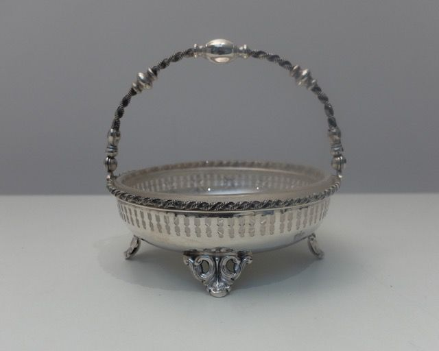 Basket openwork with crystal in silver, Austria-Hungary, 20th century