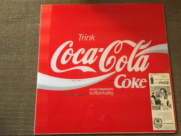 1 Beautiful Coca Cola sign of plexiglass 1965 to 1975 from Germany very large 80 cm by 80 cm plus 1 article for the 25th anniversary of Coca Cola in the Netherlands, from a magazine or newspaper 1953 VERY UNIQUE