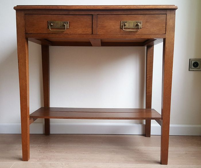 Oak wall table with two drawers - Hague School
