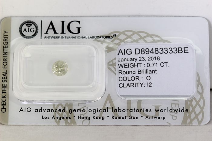 AIG Diamond - 0.71 ct - O, I2 - Excellent Cut - Without Reserve Price