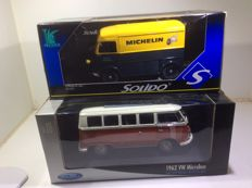 Solido / Welly - Scale ratio 1/18 - VW Microbus 1962 & Citroen H ´Michelin´
