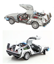 Back to the Future - 1/18 Scale - Hot Wheels Car -  Delorean Time Machine - Opening Doors