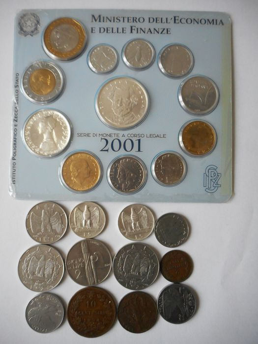 Italy - Divisional series 2001 - other coins from the Kingdom