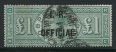 Great Britain Queen Victoria 1892 - £1 green Stanley Gibbons O16, IR Official