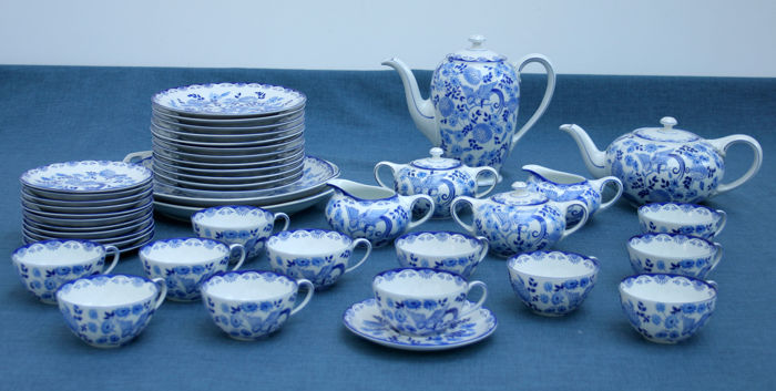 Rosenthal - Koffie- en theeservies - 12 personen - model Else, decor blaue Stunde
