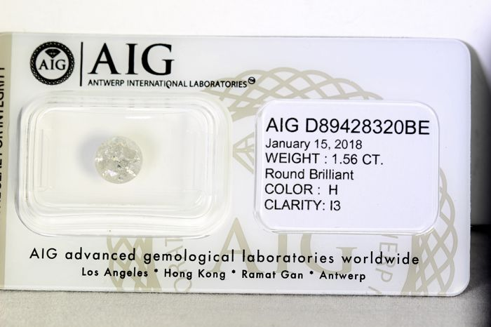 AIG Sealed Diamond  - 1.56 ct - H , I3 - * NO RESERVE PRICE *