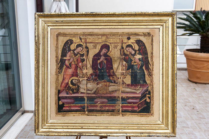Greek antimins, oil on silk, restored by the Olivetan friars, specialised in antique books and works of art Period: end of 1600
