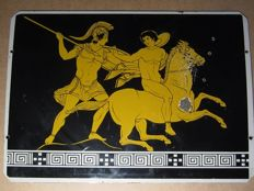 Spartan warriors on enamel plate