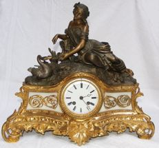 Bronze clock set - Leda and the Swan - 19th century