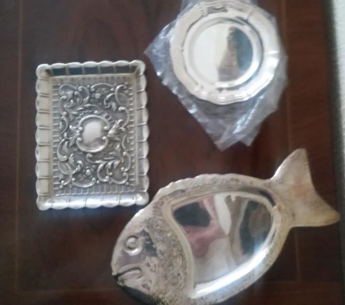 2 silver trays and 9 silver plated alpaca trays
