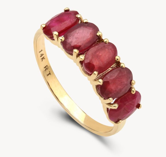 14K Yellow Gold Ring Ruby  Ring Size France 54