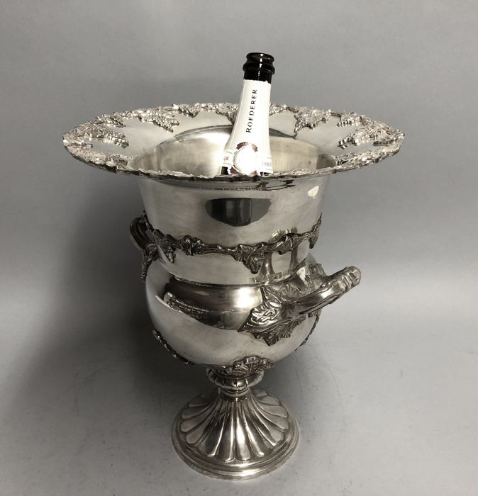 Champagne Cooler with decor of grapes and two handles, 21st century