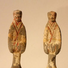 A Pair of Painted Gray Pottery Court Officials,  Western Han Dynasty, ca. 200 BCE, H- 20 cm each