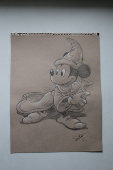 Nº 6 Ensayo (Fantasia 1940 The Sorcerer's Apprentice) Mickey aprendiz de brujo. Earth colour paper, 118 g. (27.9 x 35.6 cm) pencil and a touch of watercolour