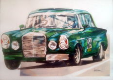 Mercedes W 111 230 S - Competition Cars - Original Watercolour - 50 x 70 cm - By Gilberto Gaspar