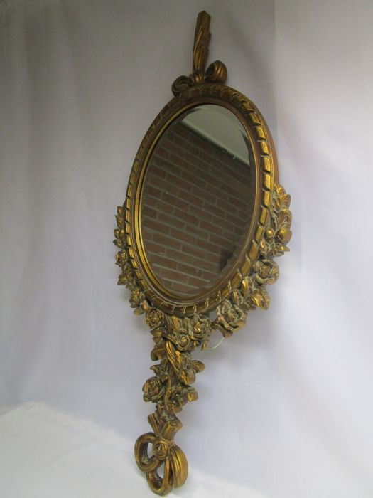 Beautiful Antique Mirror - Hand Carved Wood - France - Early 20th Century