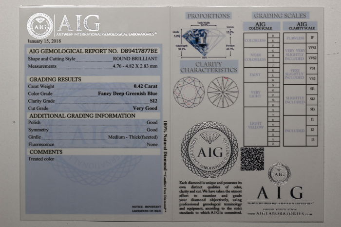 Fancy Blue Diamond - 0 42 ct - SI2 - (Colour Treated) - * No Reserve Price  * - Catawiki