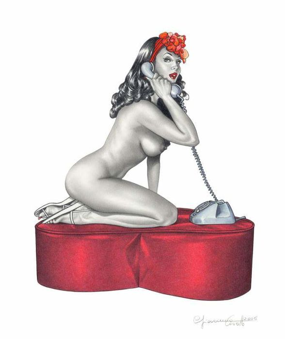 "Casotto, Giovanna - original illustration ""Pin-up on phone"" (2005)"