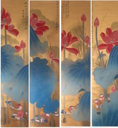 Hand painted large scroll painting《张大千-金泥鸳鸯荷花》 - China - late 20th century