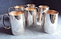 6 silver plated 1/2 pint glasses by Loftus of London c1900/1910