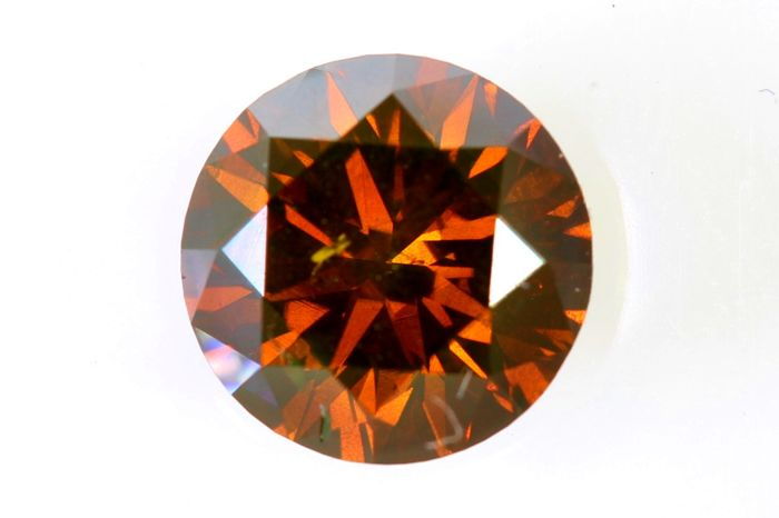 Dark Brownish Orange  Diamond - ( Colour Treated ) - 1.19 ct - SI2