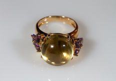Ring in 18 kt yellow gold with lemon quartz and amethyst