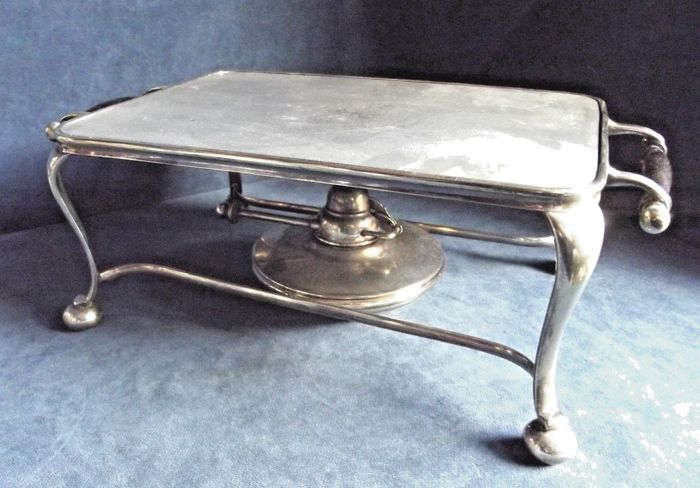 Elegant serving stand for maintain the food hot - with burner - silver plated - circa 1900s