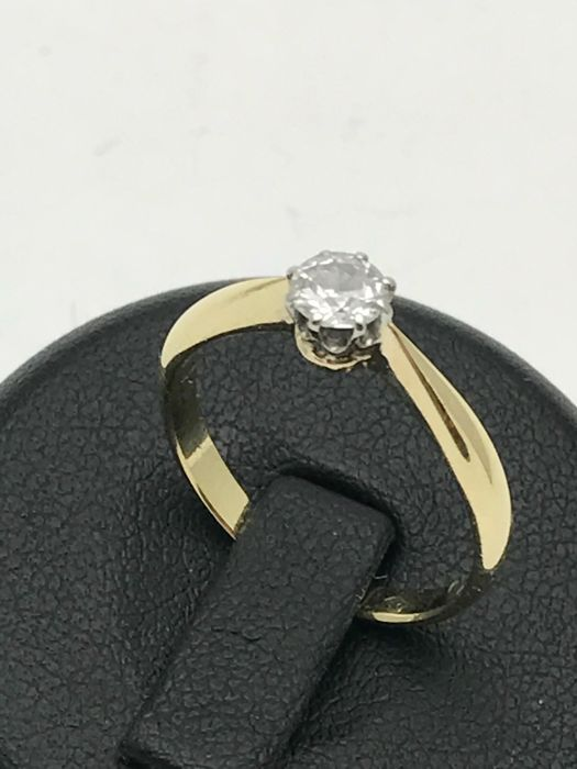 Solitaire diamond ring in 585/14 kt gold, 0.25 ct old cut diamond
