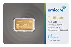 Umicore: 2.5 g Gold Bar in a Blister with Certificate, 999.9 gold, LBMA Certified