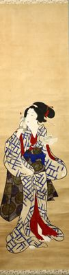 "Hand painted hanging scroll Ukiyo-e painting - ""Beauty"" - Japan - Late 19th century w/box"