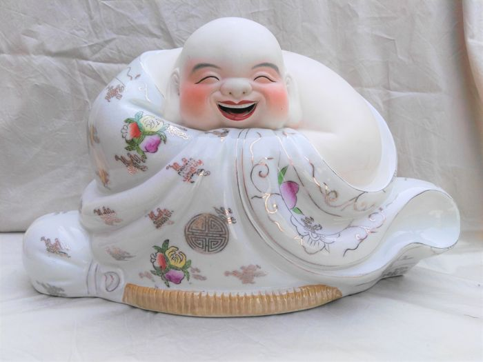 Large Chinese bisque porcelain Happy Buddha - China - late 20th century