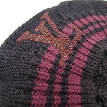 413afb40ed01a Louis Vuitton - Purple Red Lv Crystal Embellished Wool Knit Beret ...