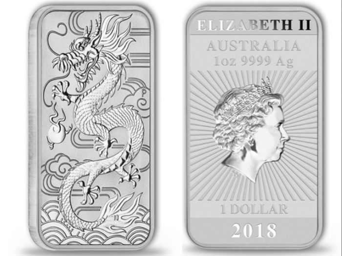 Australia: 2 x 1 Dollar, 2018 - Rectangular Perth Mint Dragon - 2 x 1 oz Silver