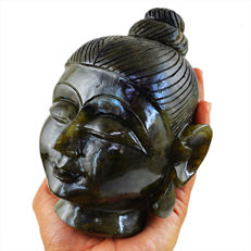 Amazing Blue Flash Labradorite Buddha Head - 135x88x70 mm - 7147.00 Cts