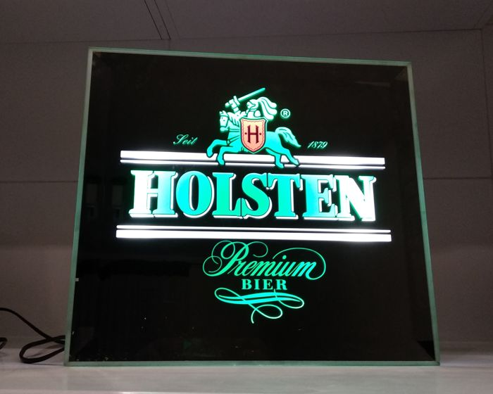 HOLSTEN brewery logo, light mirror sign 41x41x8, 1999s