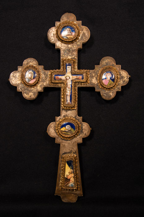 Byzantine blessing cross with framed enamel panels - Russia - second half of 18th century