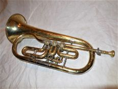 Old flugelhorn in silver plating, brass engraved with Wilhelm August Otto * market new churches