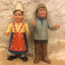 Quaint set of French celluloid dolls by Petitcollin