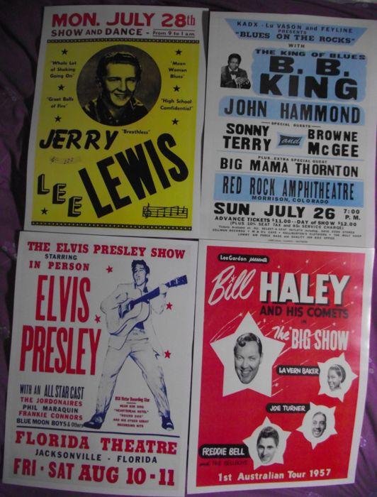 Four very cool Rock 'n' Roll  concert posters( reproduction ). Size A3