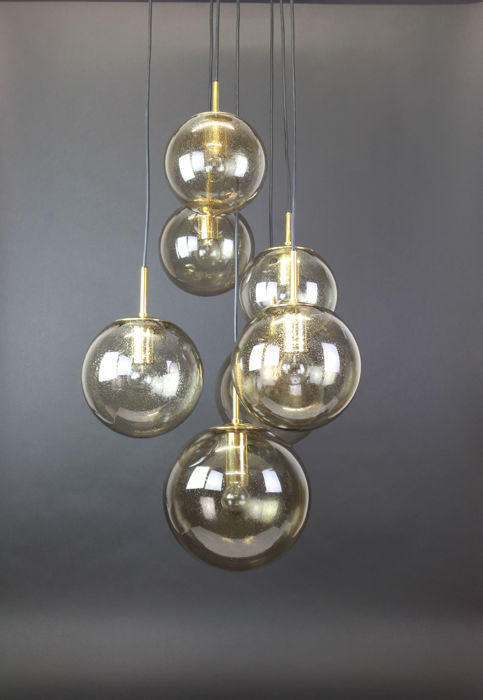 Glashütte Limburg  - Ceiling Lamp with 7 smoked glass globes