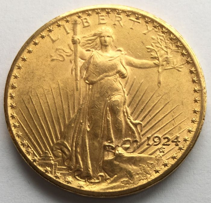 United States 20 Dollars 1924 St Gaudens Double Eagle Gold